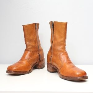 FRYE Caramel Brown 10-inch Zip-up Leather Boots